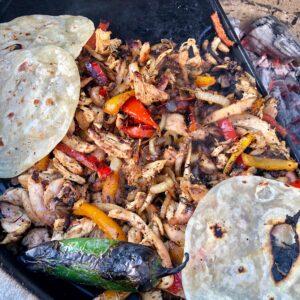 chicken fajita tacos in the making