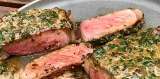 pepper crusted steak with cream sauce